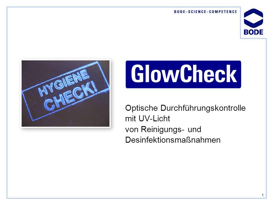 Optische Durchführungskontrolle mit UV-Licht von Reinigungs- und Desinfektionsmaßnahmen