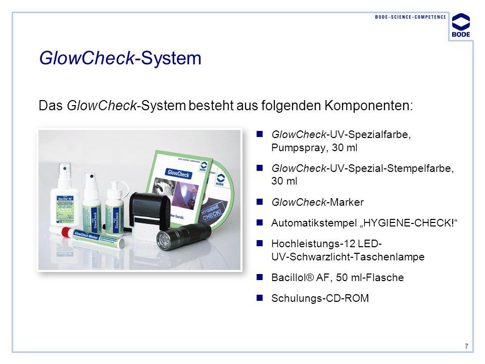 GlowCheck-System Das GlowCheck-System besteht aus folgenden Komponenten: GlowCheck-UV-Spezialfarbe, Pumpspray, 30 ml.