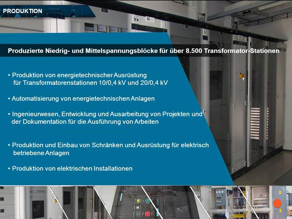 Produktion von energietechnischer Ausrüstung