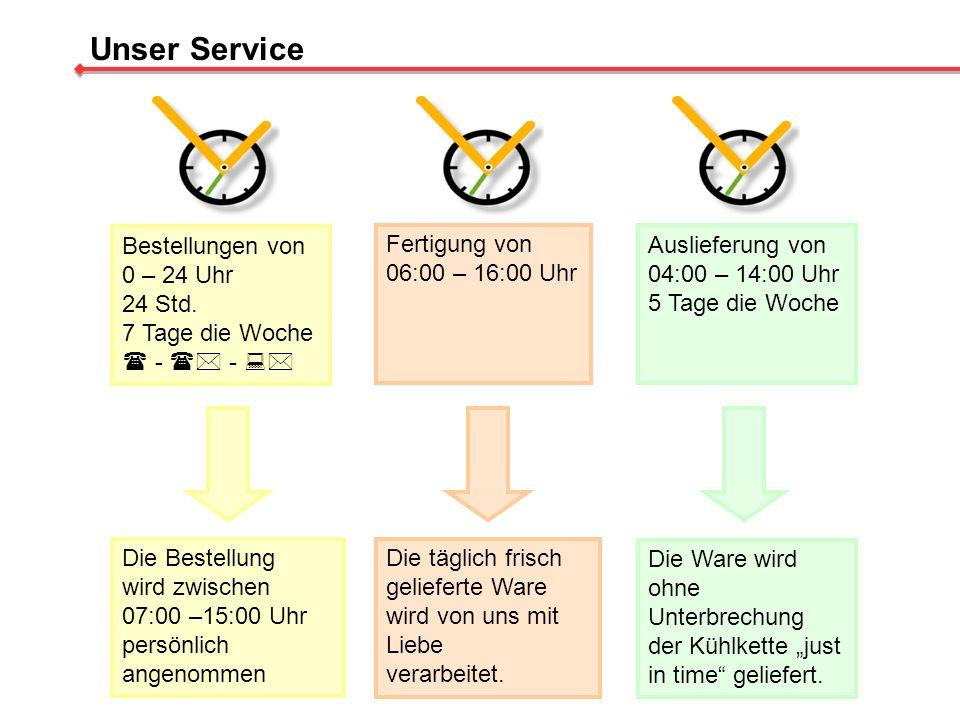 Unser Service Bestellungen von 0 – 24 Uhr 24 Std. 7 Tage die Woche