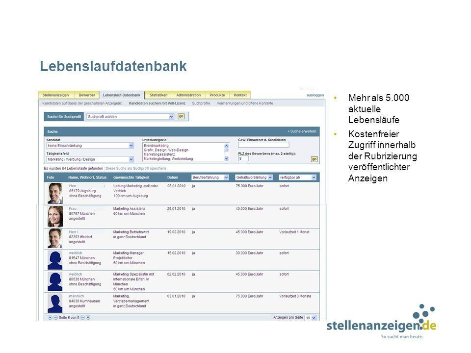 Lebenslaufdatenbank Mehr als 5.000 aktuelle Lebensläufe