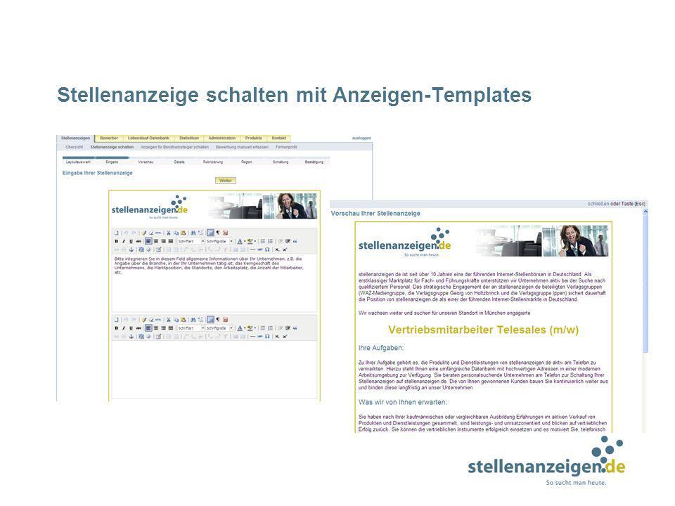 Stellenanzeige schalten mit Anzeigen-Templates