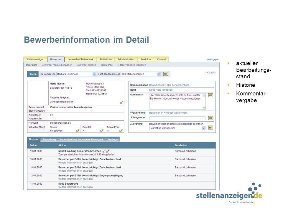 Bewerberinformation im Detail