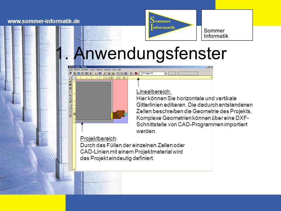 1. Anwendungsfenster www.sommer-informatik.de Linealbereich:
