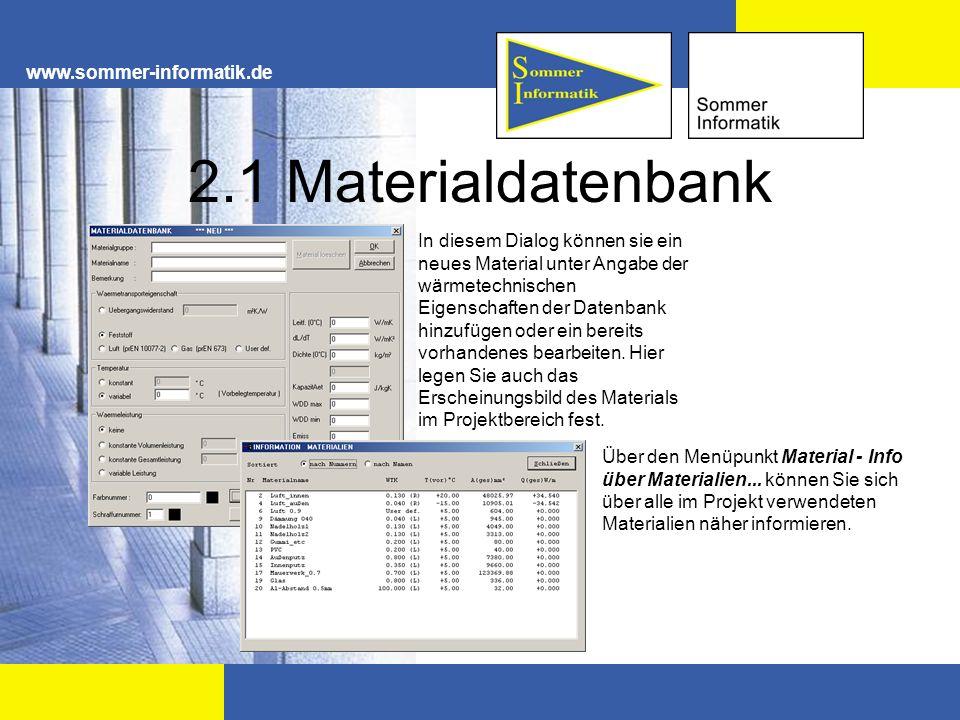 2.1 Materialdatenbank www.sommer-informatik.de