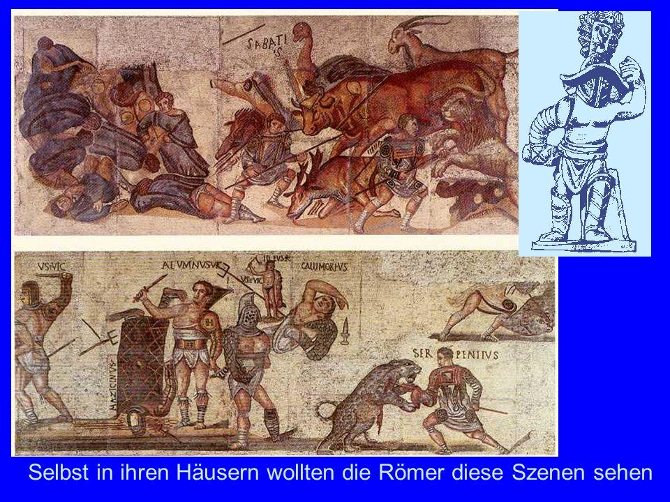 GladiatorenFußboden-Mosaiken aus Tunesien mit Szenen aus dem Amphitheater.