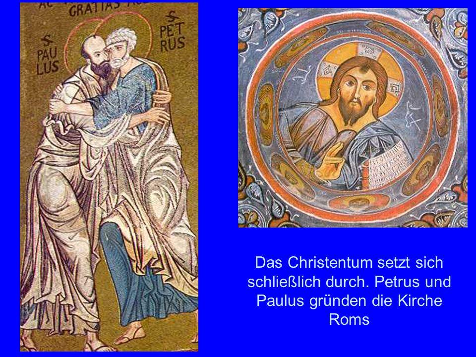 Christentum Oben links Petrus und Paulus (Katakomben). Rechts oben der Pantokrator (Kappadokien)