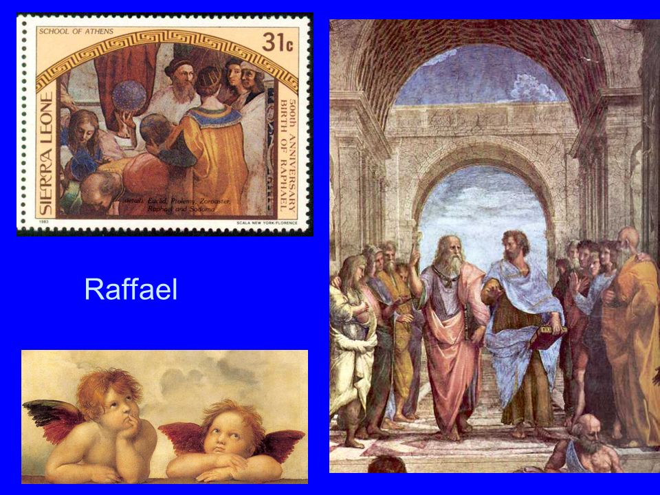 Raffael Raffael. Briefmarke und rechts: Die Schule von Athen (Stanzen im Vatikan).