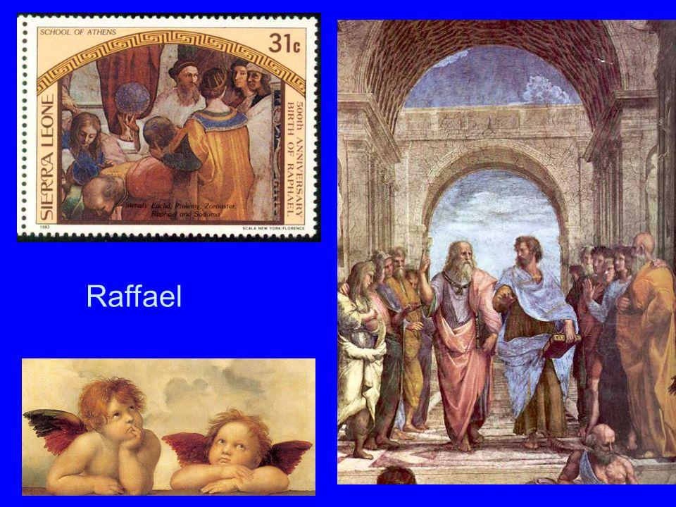 RaffaelRaffael.Briefmarke und rechts: Die Schule von Athen (Stanzen im Vatikan).