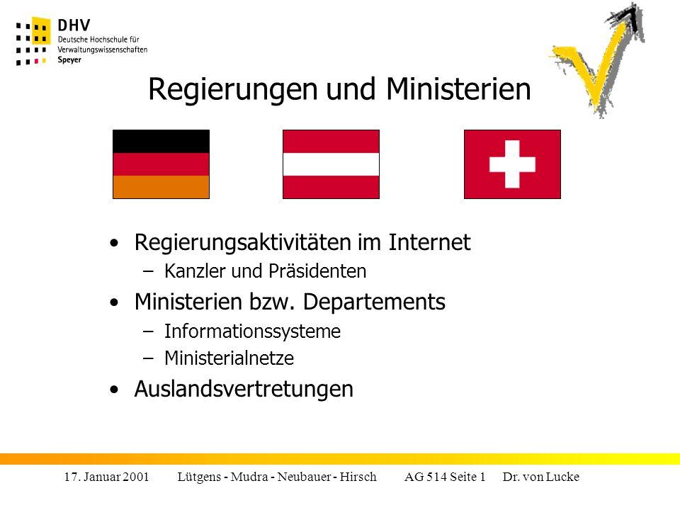Regierungen und Ministerien