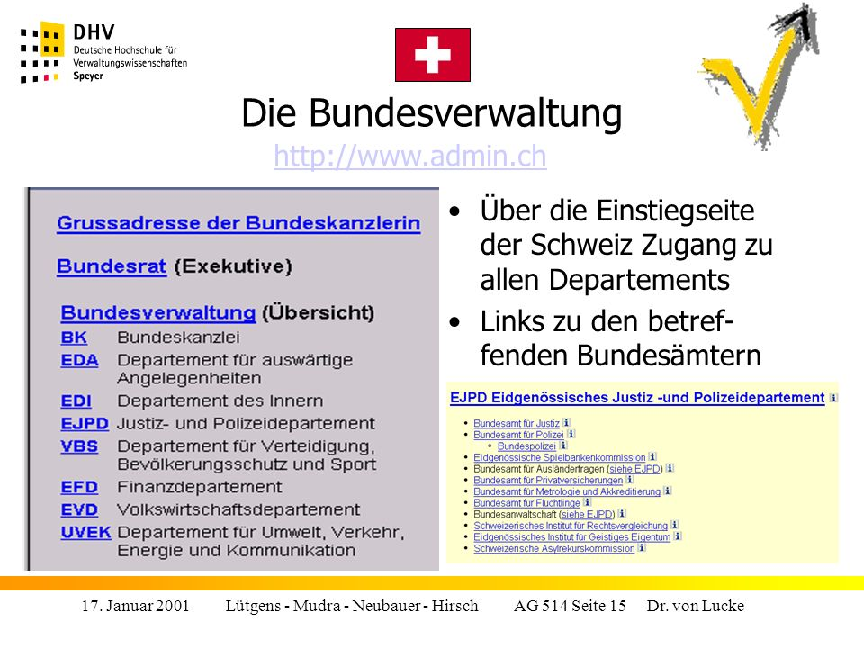 Die Bundesverwaltung http://www.admin.ch