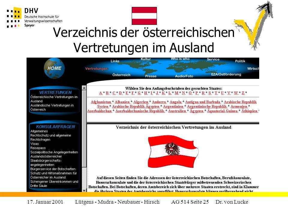 Verzeichnis der österreichischen Vertretungen im Ausland