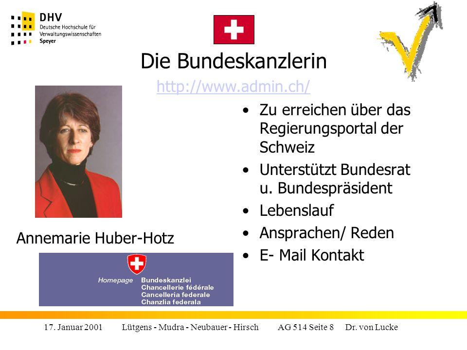 Die Bundeskanzlerin http://www.admin.ch/