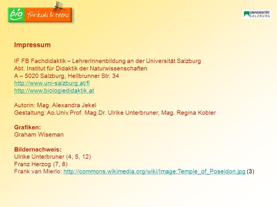 Impressum IF FB Fachdidaktik – LehrerInnenbildung an der Universität Salzburg. Abt. Institut für Didaktik der Naturwissenschaften.