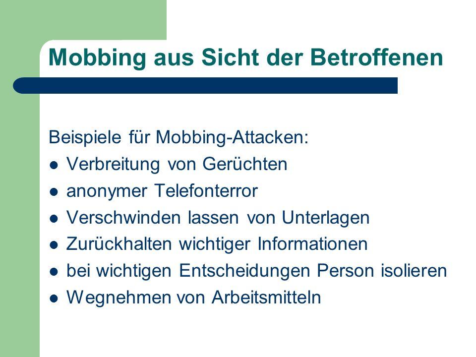 Mobbing aus Sicht der Betroffenen
