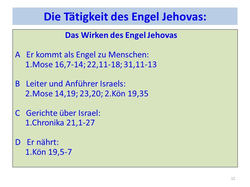 Die Tätigkeit des Engel Jehovas: