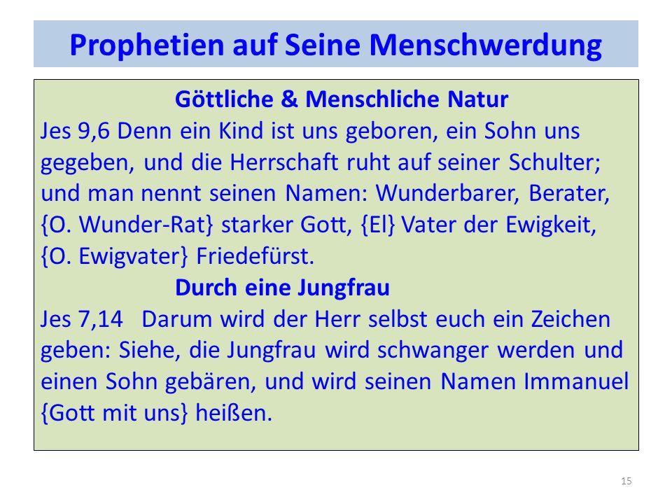 Prophetien auf Seine Menschwerdung