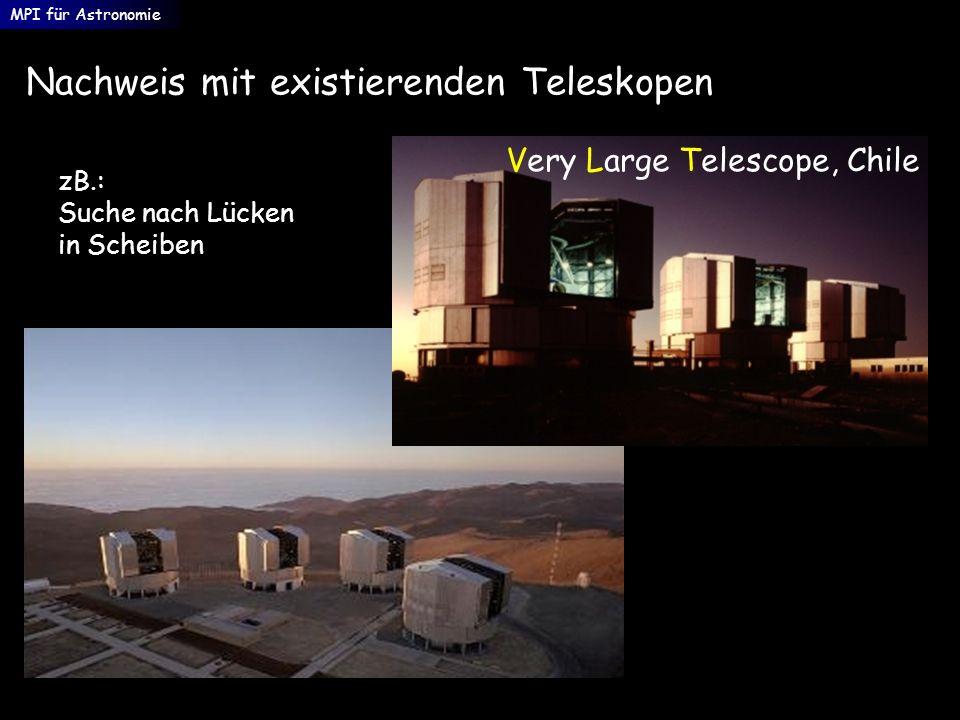 Nachweis mit existierenden Teleskopen