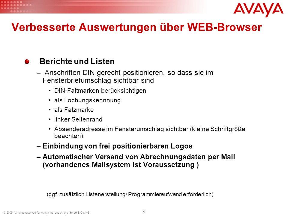 Verbesserte Auswertungen über WEB-Browser