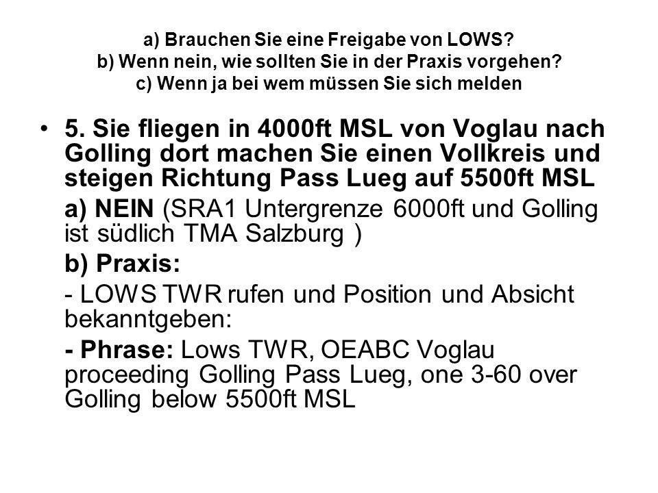 - LOWS TWR rufen und Position und Absicht bekanntgeben: