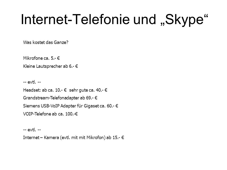 """Internet-Telefonie und """"Skype"""