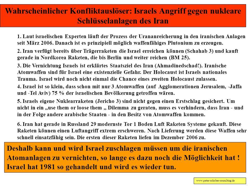 Wahrscheinlicher Konfliktauslöser: Israels Angriff gegen nukleare Schlüsselanlagen des Iran
