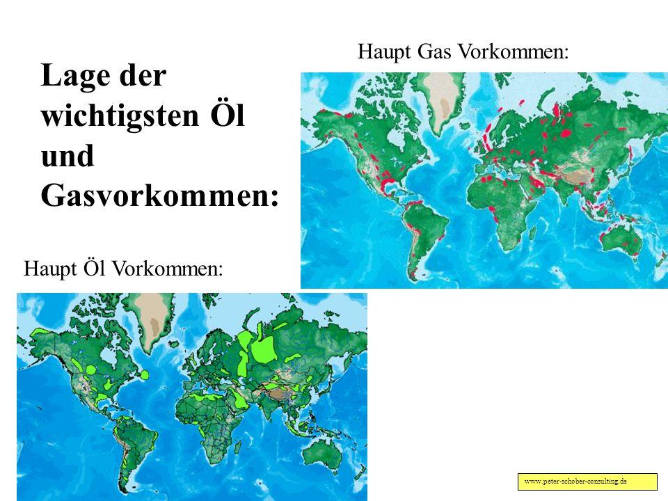 Lage der wichtigsten Öl und Gasvorkommen: