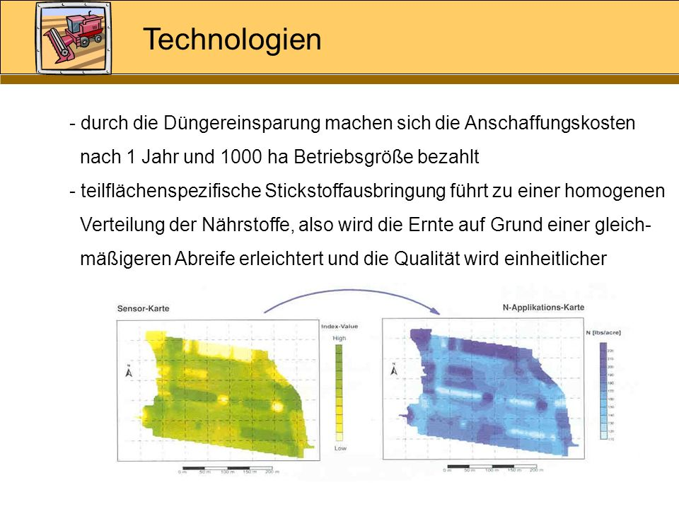 Technologiendurch die Düngereinsparung machen sich die Anschaffungskosten. nach 1 Jahr und 1000 ha Betriebsgröße bezahlt.
