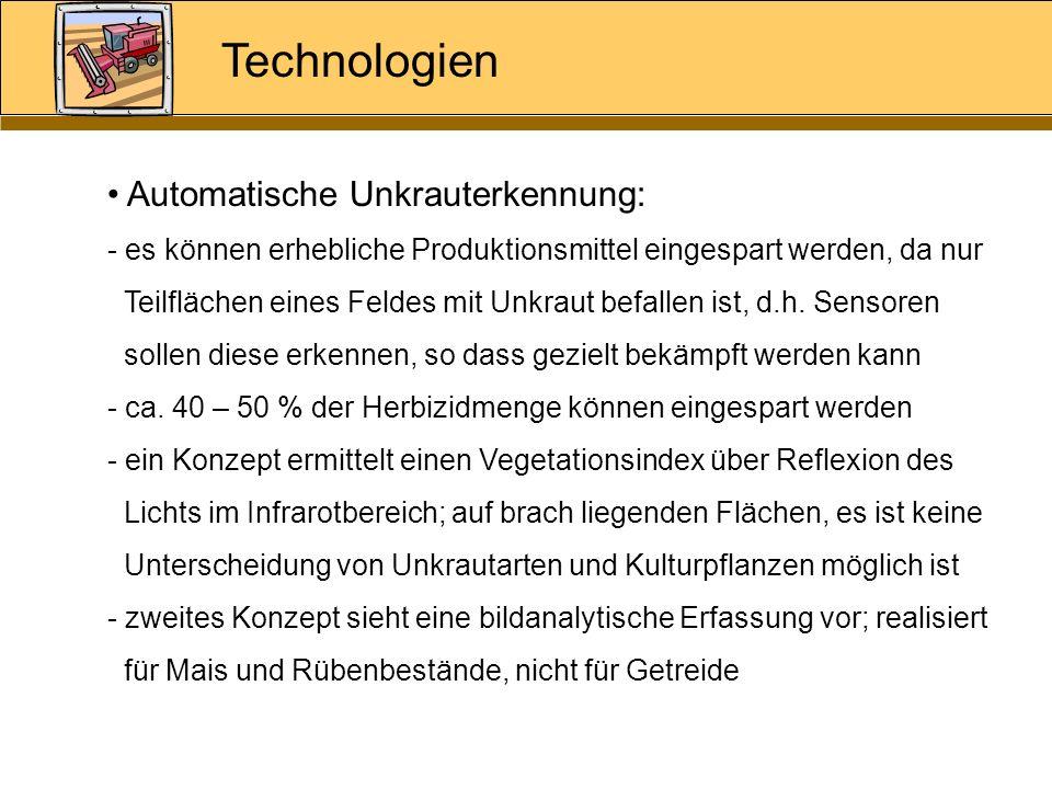 Technologien Automatische Unkrauterkennung: