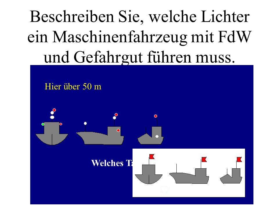 Beschreiben Sie, welche Lichter ein Maschinenfahrzeug mit FdW und Gefahrgut führen muss.