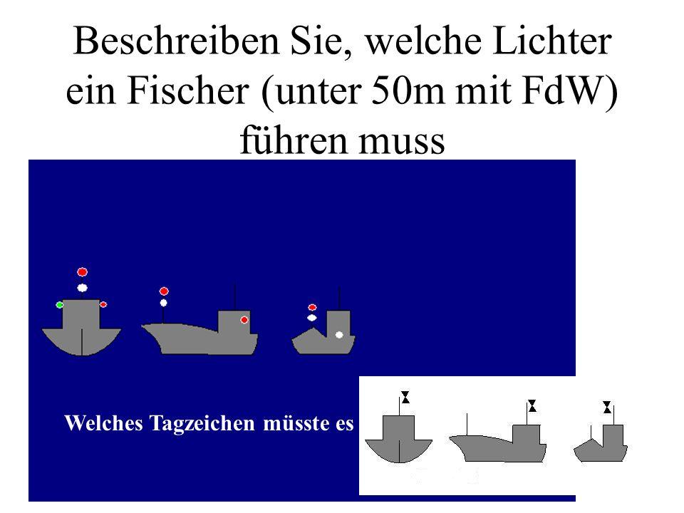 Beschreiben Sie, welche Lichter ein Fischer (unter 50m mit FdW) führen muss
