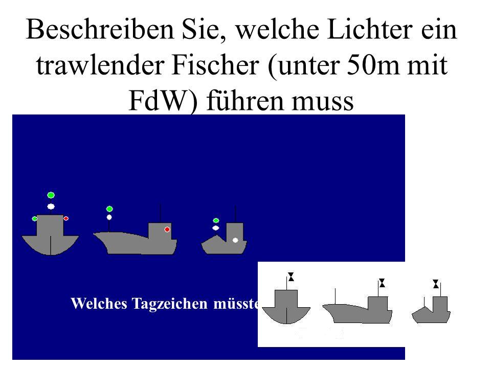 Beschreiben Sie, welche Lichter ein trawlender Fischer (unter 50m mit FdW) führen muss