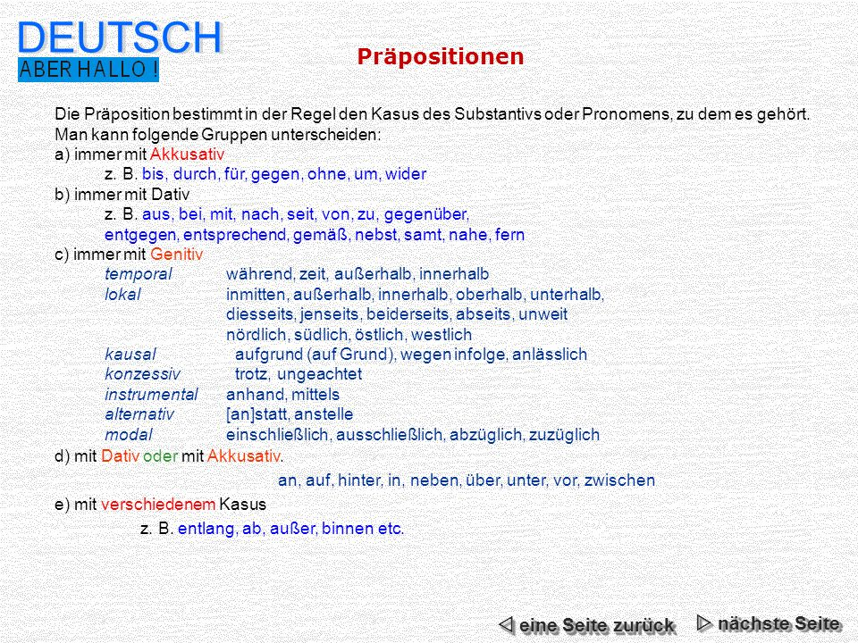 Deutsch pr positionen n chste seite ppt video online for Nach akkusativ oder dativ