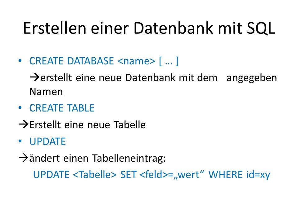 Erstellen einer Datenbank mit SQL