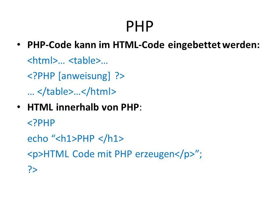 PHP PHP-Code kann im HTML-Code eingebettet werden: