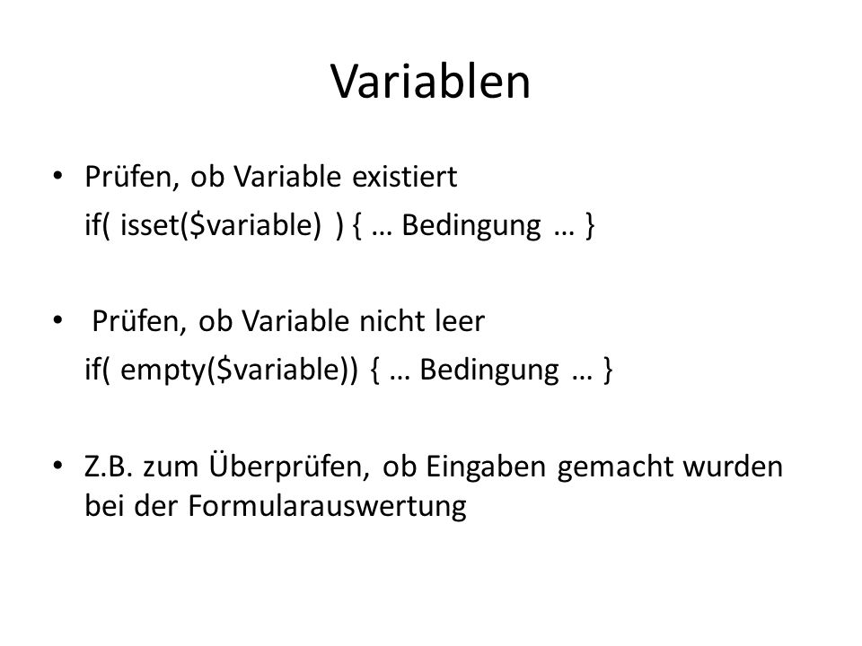 Variablen Prüfen, ob Variable existiert