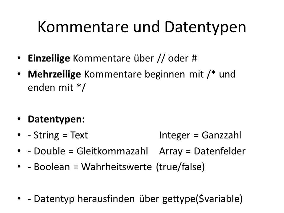 Kommentare und Datentypen