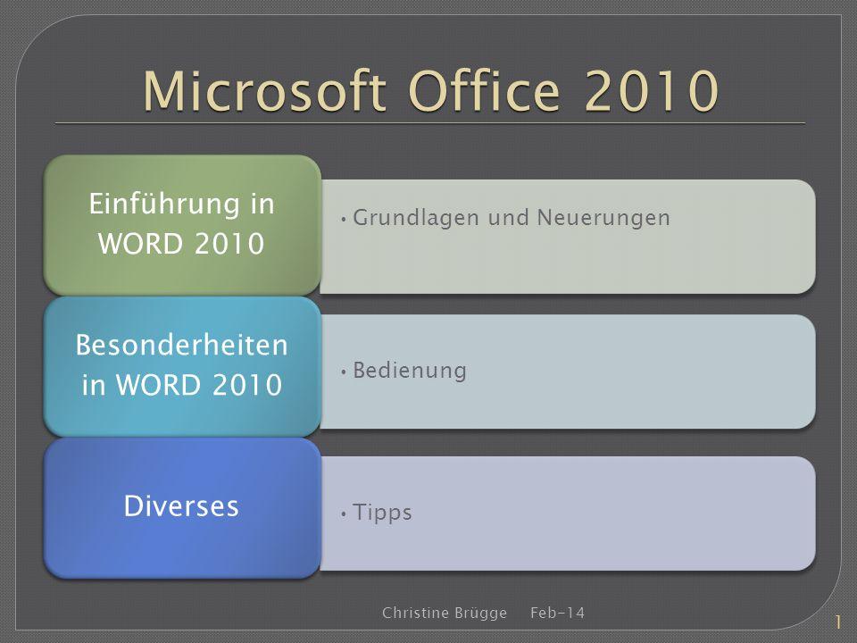Besonderheiten in WORD 2010