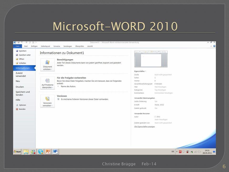 Microsoft-WORD 2010 Christine Brügge Mrz-17