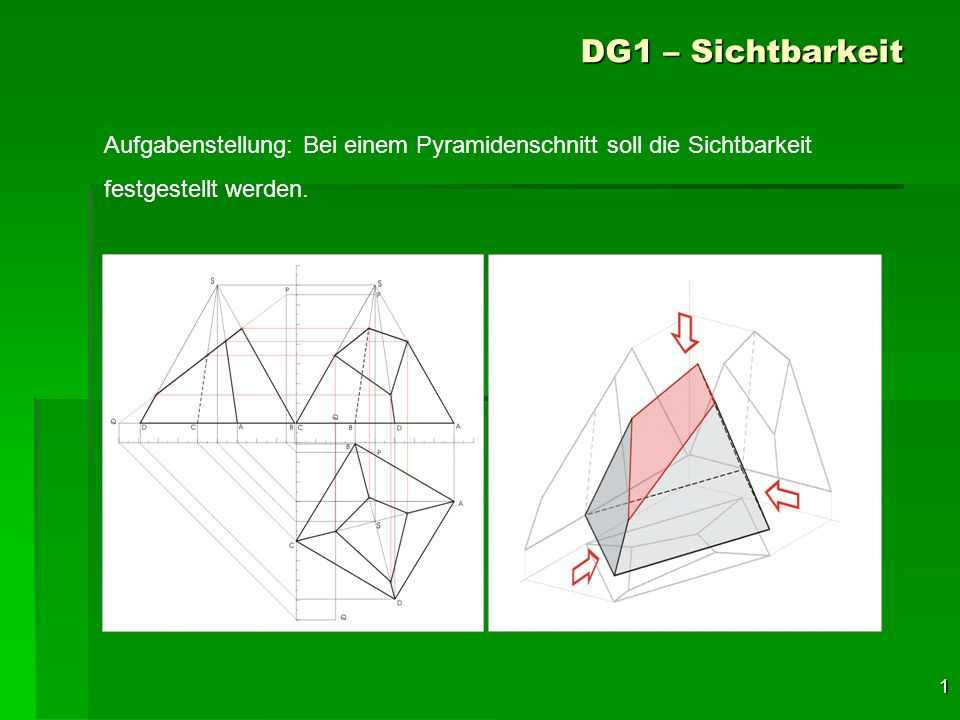 DG1 – Sichtbarkeit Aufgabenstellung: Bei einem Pyramidenschnitt soll die Sichtbarkeit.