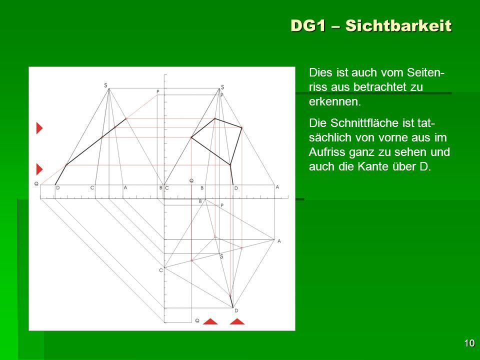 DG1 – Sichtbarkeit Dies ist auch vom Seiten-riss aus betrachtet zu erkennen.