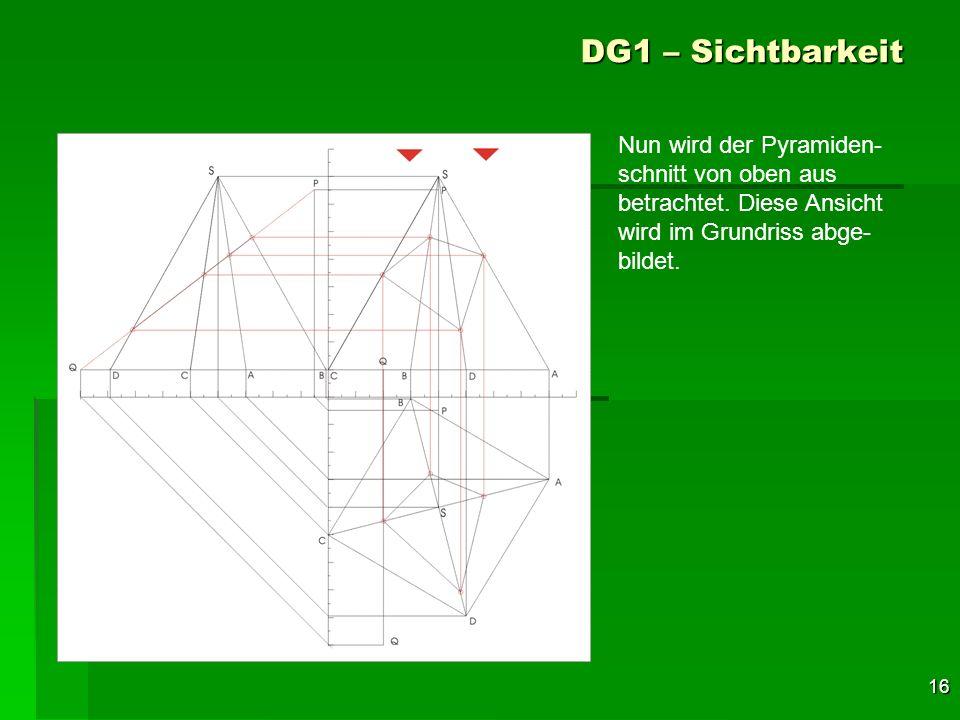 DG1 – Sichtbarkeit Nun wird der Pyramiden-schnitt von oben aus betrachtet.