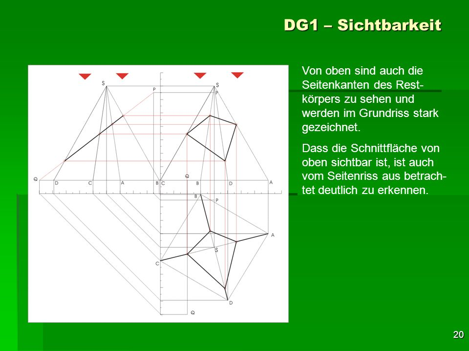 DG1 – Sichtbarkeit Von oben sind auch die Seitenkanten des Rest-körpers zu sehen und werden im Grundriss stark gezeichnet.