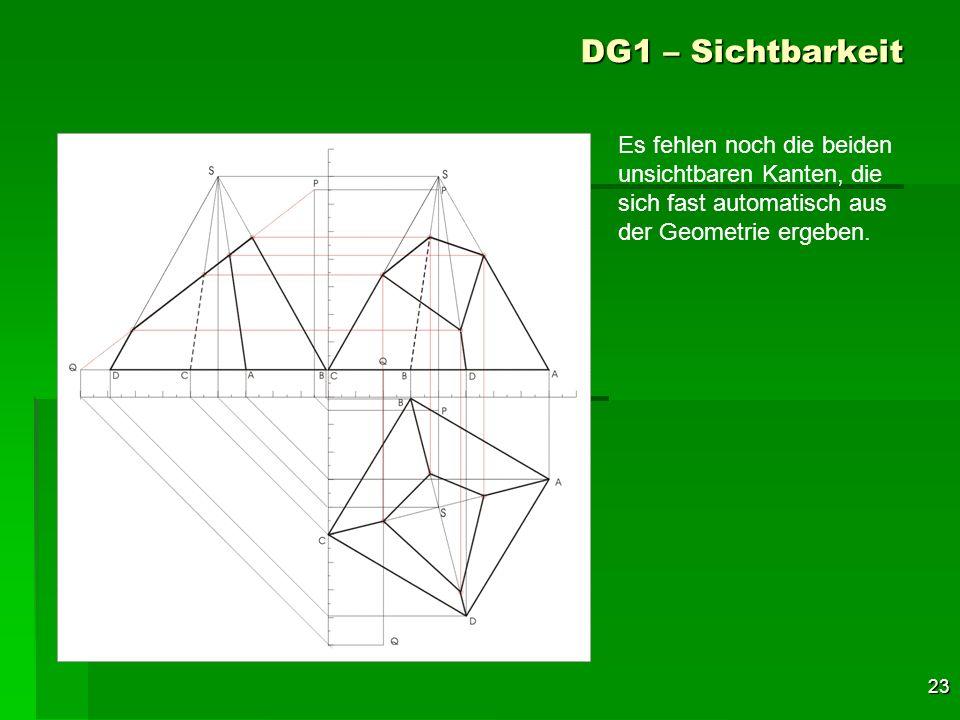DG1 – Sichtbarkeit Es fehlen noch die beiden unsichtbaren Kanten, die sich fast automatisch aus der Geometrie ergeben.