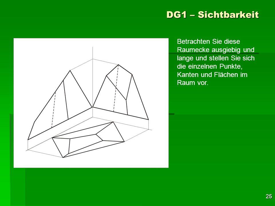 DG1 – Sichtbarkeit Betrachten Sie diese Raumecke ausgiebig und lange und stellen Sie sich die einzelnen Punkte, Kanten und Flächen im Raum vor.