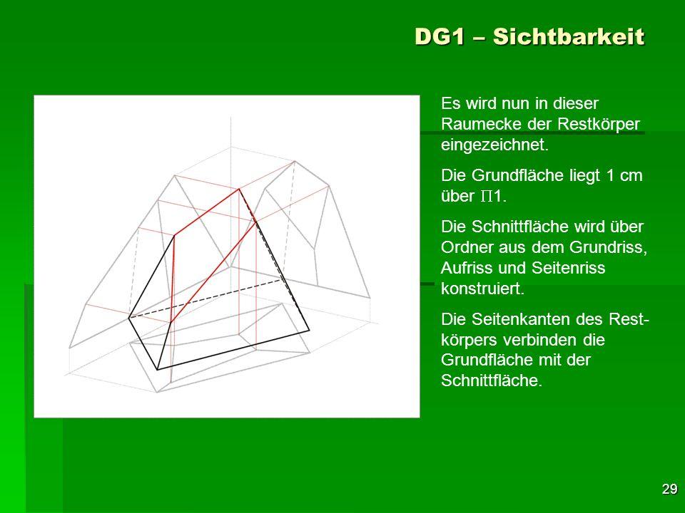 DG1 – Sichtbarkeit Es wird nun in dieser Raumecke der Restkörper eingezeichnet. Die Grundfläche liegt 1 cm über P1.
