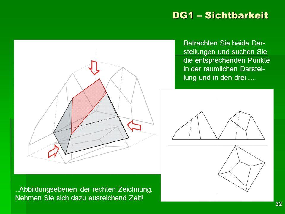DG1 – Sichtbarkeit Betrachten Sie beide Dar-stellungen und suchen Sie die entsprechenden Punkte in der räumlichen Darstel-lung und in den drei ….