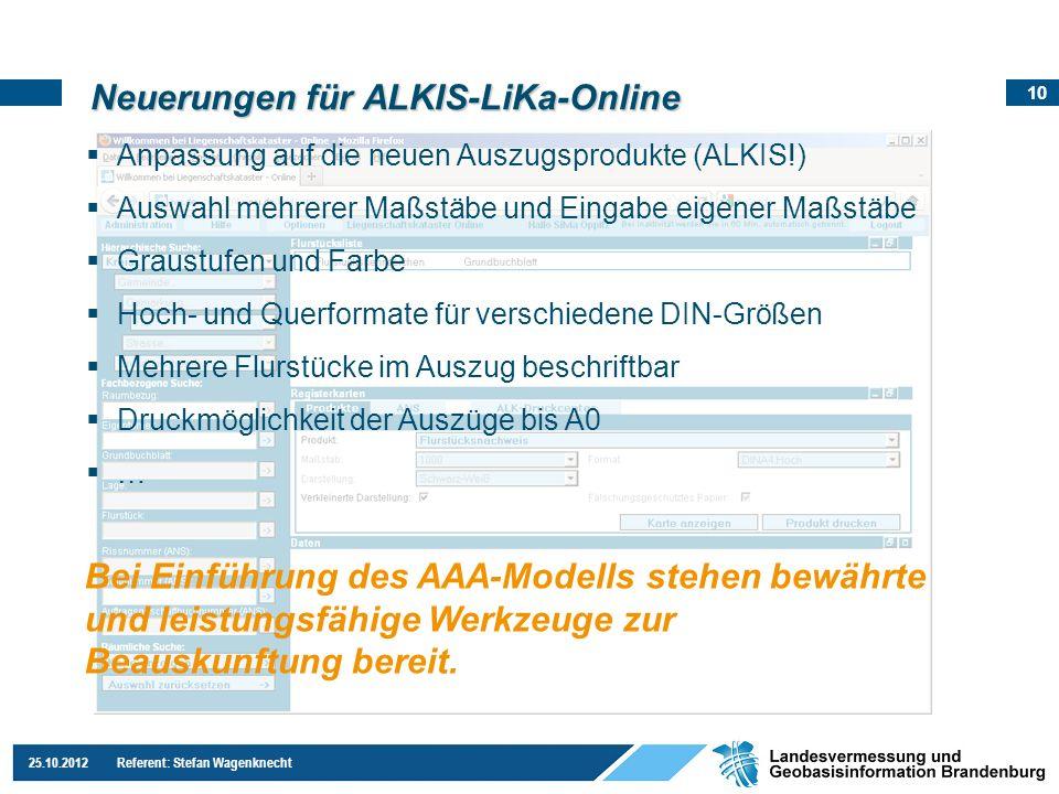 Neuerungen für ALKIS-LiKa-Online