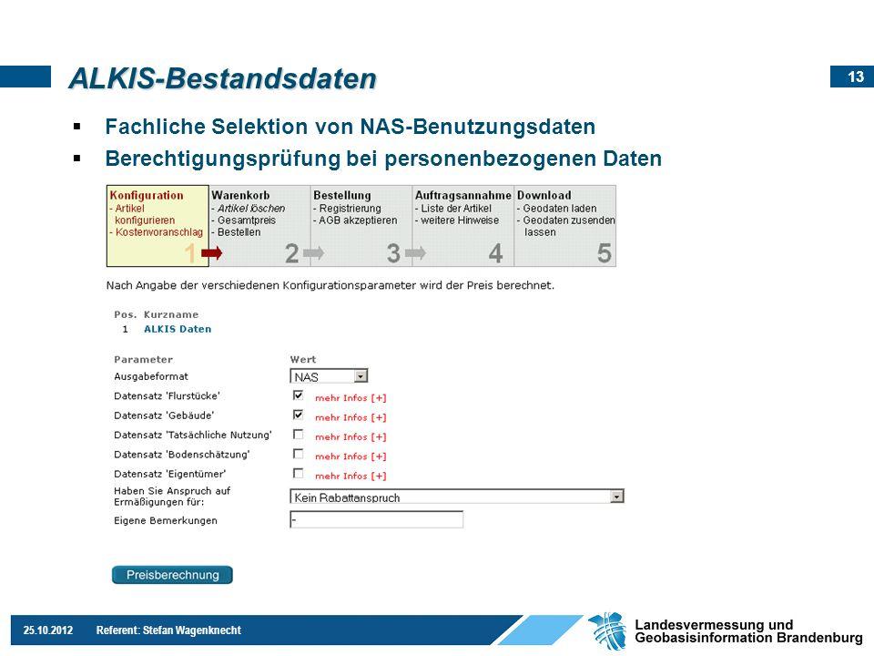 ALKIS-Bestandsdaten Fachliche Selektion von NAS-Benutzungsdaten