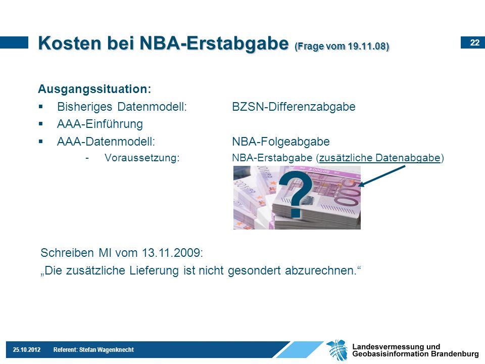 Kosten bei NBA-Erstabgabe (Frage vom 19.11.08)